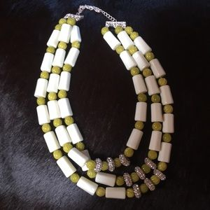 Green silver and white beaded layered necklace